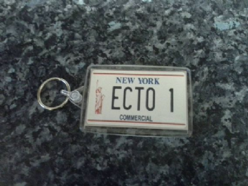 Ecto 1 License Plate Jumbo Keyring. Inspired by Ghostbusters. Licence